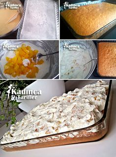 Şeftalili Kolay Pasta Tarifi Turkish Recipes, Ethnic Recipes, Turkish Kitchen, Beignets, Food And Drink, Yummy Food, Cheese, Baking, Desserts
