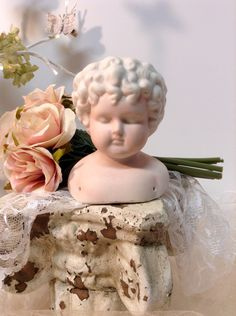 Vintage doll bust head unfinished  for crafting doll making mixed media art by lamoneeboutique on Etsy