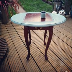 Bought this table for a fiver! Spilt my paint when I got in so I had to paint from the spilt puddle on the floor quickly! No before photo :( First undercoat Annie Sloan Chalk Paint Duck Egg