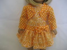 American Girl Doll Clothes - Tangerine Drop-waist Dress with Jacket