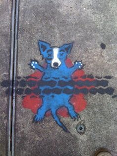 Rodrique's blue dog becomes roadkill In New Orleans #streetart