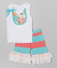 Loving this Aqua & Coral Tank & Ruffle Shorts - Infant, Toddler & Girls on #zulily! #zulilyfinds