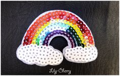 Patch écusson brodé thermocollant arc-en-ciel sequins rainbow sweet kawaii x1 : Déco, Customisation Textile par lilycherry