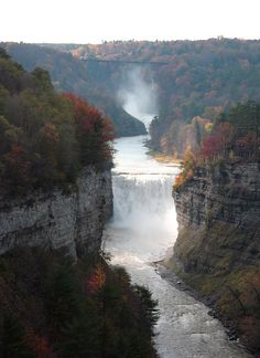 Letchworth State Park - The Grand Canyon of the East Cloudland Canyon, New York State Parks, Letchworth State Park, Waterfall Photo, Largest Waterfall, Park Art, Autumn Nature, Aerial View, Amazing Nature