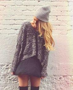 Black skirt // black socks // sweater