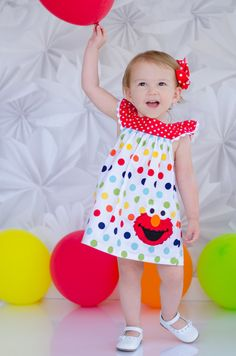 Girls Elmo Birthday Dress - Elmo Birthday Outfit - Girls Birthday Dress - 2nd Birthday outfit - Rainbow birthday Más