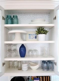 Kitchen Wallpaper - Kitchen Cabinets with Glass Front - Kitchen DIY Makeover - Kitchen Makeo Kitchen Wallpaper Glass, Wallpaper Cabinets, Kitchen Wallpaper, Diy Wallpaper, Paint Inside Cabinets, Painting Kitchen Cabinets, Kitchen Paint, Glass Kitchen, Kitchen Cabinets Upgrade