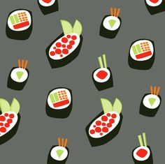 put on a bottle? Food Patterns, Textile Patterns, Shape Patterns, Print Patterns, Textiles, Cute Pattern, Pattern Design, Pattern Art, Sushi Art