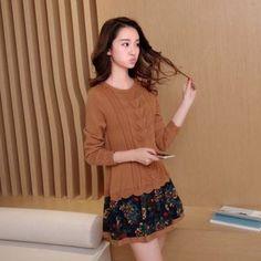 Bubbleknot - Long-Sleeve Mock Two Piece Knit Dress
