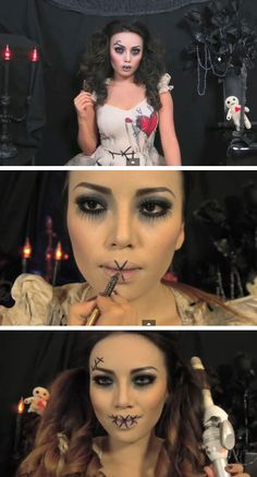 Creepy Stitched Doll | Click Pic for 22 Easy DIY Halloween Costumes for Women 2014 | Last Minute Halloween Costumes for Women