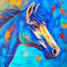 Horse with Vibrant Colors - acrylic by ©Theresa Paden (DailyPainters)