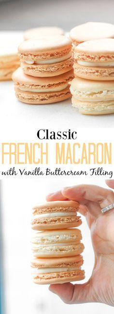 Classic French Macaron with Vanilla Buttercream Filling by Sam - Ahead of Thyme. Every bite of this sweet, classic french macaron with vanil. Brownie Desserts, Oreo Dessert, Just Desserts, Delicious Desserts, Yummy Food, Healthy Food, Vanilla Desserts, Baking Brownies, Finger Desserts