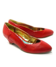 Take a look at this Red Irene Kitten Heel by B.A.I.T. on #zulily today!