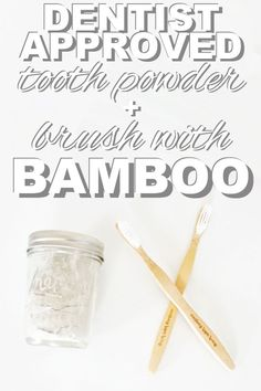 A dentist approved tooth powder and brush with bamboo for a zero waste smile with www.goingzerowaste.com