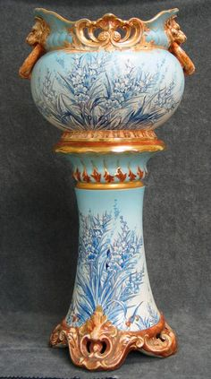 Earthenware jardiniere and pedestal