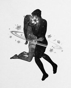 She thought it was a curse to feel everything so deeply but how can it be wrong to love beyond the stars Tags. Illustration Art Drawing, Couple Illustration, Art Drawings, Romance Arte, Digital Foto, Ghost In The Machine, Sad Art, Rainbow Art, Couple Art
