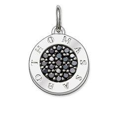 Pendant with eyelet 925 Sterlingsilver, blackened black zirconia-pavé Size: 1.4 cm