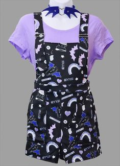 Creepy Cute Pastel Goth Pattern Overalls