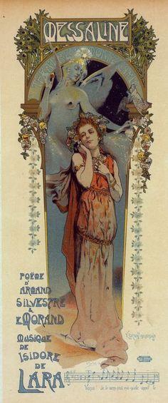 """Affiche pour la représentation de l'opéra """"Messaline"""" au Casino de Monte-Carlo."""