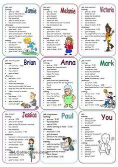 Daily Routines Speaking Cards Representar uma pessoa e descrever sua rotina/hábitos diários