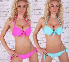 SEXY 2 PIECES SEXY DOUBLE PUSH UP BIKINI PINK BLUE SWIMWEAR S M L XL 2 COLORS #Missy #Bikini
