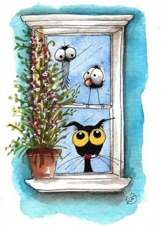 ACEO Original watercolor painting Lucia Stewart whimsical black cat crow window…