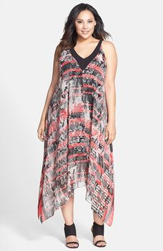 Adrianna+Papell+Handkerchief+Hem+Chiffon+Dress+(Plus+Size)+available+at+#Nordstrom