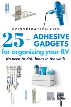 Adhesive gadgets perfect for organizing a camper or motorhome that don't require you to drill holes in the walls! Motorhome Living, Motorhome Interior, Rv Interior, Motorhome Organisation, Rv Organization, Camper Storage, Organizing A Camper, Trailer Storage, Rv Storage Solutions