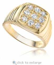 Ziamond cubic zirconia men's ring in solid 14k yellow gold.  The Morel Men's Ring features pave set round cz with a ribbed styled shank. #ziamond #cubiczirconia #pave #ribbed #mens #ring
