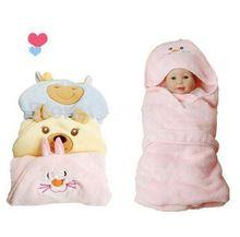 Cobertor do bebê Super macio Coral Fleece Swaddle cobertores Envelope para recém-nascidos suprimentos rosa azul(China (Mainland))