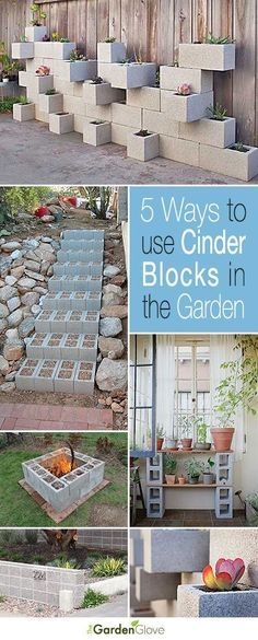 Garden Landscaping Ideas 5 Ways to Use Cinder Blocks in the Garden Lots of creative projects ideas and tutorials!Garden Landscaping Ideas 5 Ways to Use Cinder Blocks in the Garden Lots of creative projects ideas and tutorials! Backyard Projects, Outdoor Projects, Garden Projects, Outdoor Decor, Diy Projects, Backyard Ideas, Garden Ideas Diy Cheap, Diy Ideas, Mosaic Projects