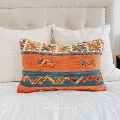 One-of-a-kind Moroccan kilim pillow made from vintage rugs. This pillow features a different pattern on each side! Lucky Collective #LuckyCollective Moroccan Kilim, Silk Pillow, Fringe Pillows, Kilim Pillows, Moroccan Throw Pillow, Kilim, Pillows, Throw Pillows, Vintage Rugs