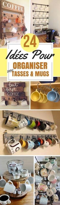 Maintenant, il est temps de mettre vos tasses sous les projecteurs. Donnez-leur leur chance . Si vous préférez les ranger dans vos meubles, il existe aussi des supports très pratiques qui se glissent dans vos placards. Vous pourrez suspendre ou empiler vos tasses tout en économisant de l'espace. Dans cet article, je vais vous proposer 24 idées d'organisation pour vos tasses. Sortez les Mugs !