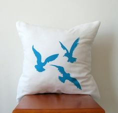 Blue Flying Seagulls Pillow Cover Hand Printed by AnyarwotDesigns, $19.99