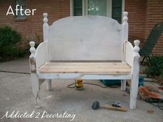 So this started out as a head board and footboard. They cut the footboard in half and made it into the arms, and added a brace board and slats for a bench. Luv this Idea!