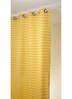 Rideau en jacquard à imprimés triangulaires (noir et blanc), (bleu et blanc), (rose et blanc), (jaune et blanc), (orange et blanc), (cerise et blanc), (vert tilleul et blanc) - Homemaison : vente en ligne rideaux