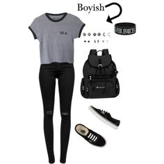 Boyish by itisacs on Polyvore featuring polyvore, fashion, style, J Brand, Vans, Sherpani and With Love From CA
