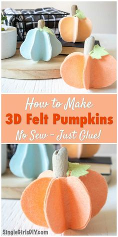 Easy Crafts To Make, Easy Fall Crafts, Halloween Crafts For Kids, Thanksgiving Crafts, Halloween Ideas, Holiday Crafts, Fall Felt Crafts, Pumpkin Decorating, Fall Decorating