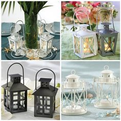 Mini lanterns as beach wedding centerpieces, decorations and favors.  Click image