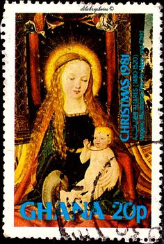 Ghana.  CHRISTMAS 1981.  ANGELIC MUSICIANS PLAY FOR MARY & CHILD, BY AACHENER ALTARES.  Scott  771 A165, Issued 1981 Nov 26,  Perf. 14, 20. /ldb.