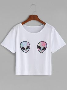 White Aliens Print T-shirt