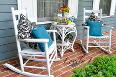 Porch updated with blue, white, and black via Lovely Livings #porch