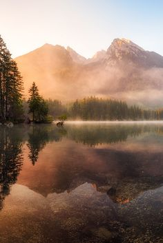 A misty mountain sits at the base of a glossy lake in this stunning nature mural. Mountain Lake Wall Mural comes on 4 panels. Landscape Photography Tips, Amazing Photography, Nature Photography, Photography Backdrops, Travel Photography, Photography Business, Photography Courses, Freelance Photography, Photography Composition