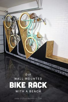 Does an unorganized garage scare you? This DIY wall-mounted bike rack built by @GrayHouseStudio doubles as a bench for ultimate storage and adds some serious ommm to this garage! Visit @GrayHouseStudio to learn how they built it or DIY your own bike rack with Rust-Oleum Chalkboard Spray: http://spr.ly/64938XGMd #OmmmAwakening