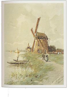 watermolen - Henri cassiers Windmill Art, Holland Netherlands, Nature Journal, Pebble Painting, Le Moulin, Covered Bridges, Pictures To Paint, Cool Art, Fun Art