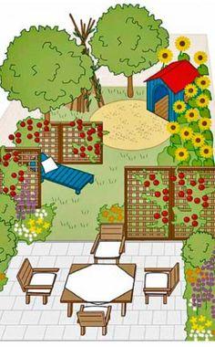 Schmaler Garten mit Rankgitter als Sichtschutz