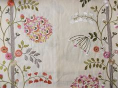Embroidery ideas:  Commercially embroidered fabric, 'Faylinn',  in colour way 'Rosehip' from the Rapunzel - Voyage Collection.