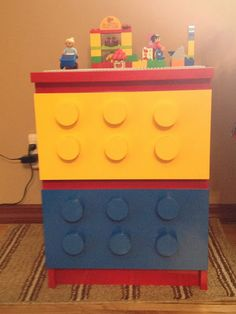IKEA Hackers: Malm Lego Table - using the Malm dresser, spray paint, and dowels, pretty awesome