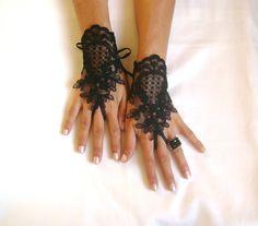 Black or ivory Wedding gloves french lace gloves by GlovesByJana, $25.00