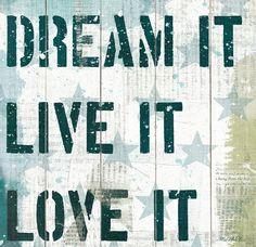 'Dream It Live It Love It' Wood Wall Art